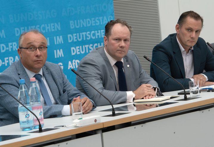 Sächsische AfD-Bundestagsabgeordnete Maier, Droese und Chrupalla