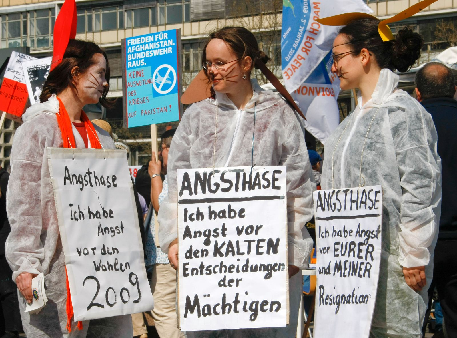 Protesters take part in Easter march demonstration in Berlin