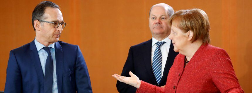 German Foreign Minister Heiko Maas, Finance Minister Olaf Scholz and Chancellor Angela Merkel attend the weekly cabinet meeting in Berlin