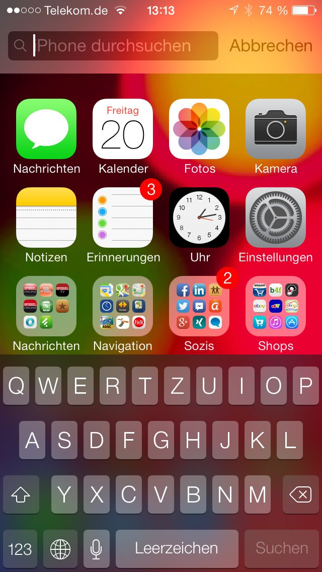 NUR ALS ZITAT Screenshots iOS 7 Tipps