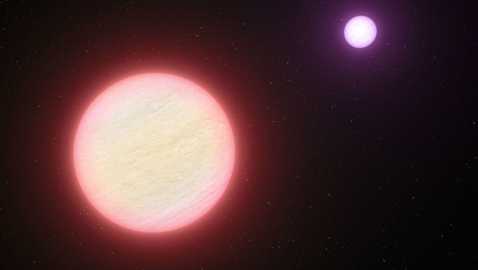 Doppelsternensystem (Illustration): Brauner Zwerg ist außergewöhnlich kühl