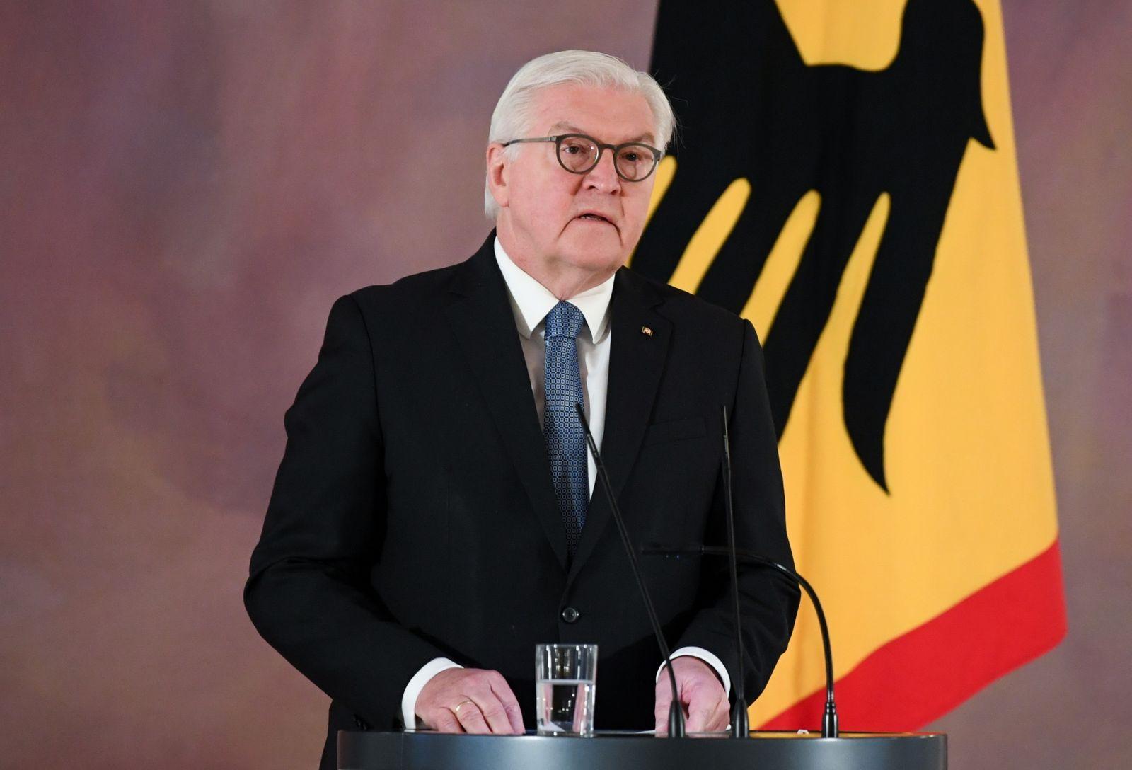 German President Frank-Walter Steinmeier delivers a statement on the turmoil in Washington, in Berlin