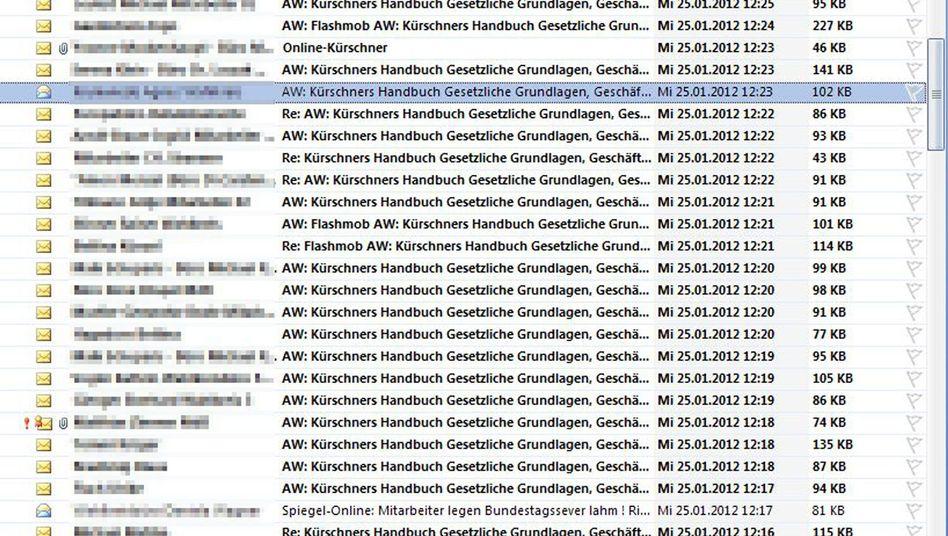Screenshot eines elektronischen Posteingangsfaches im Bundestag am Mittwoch