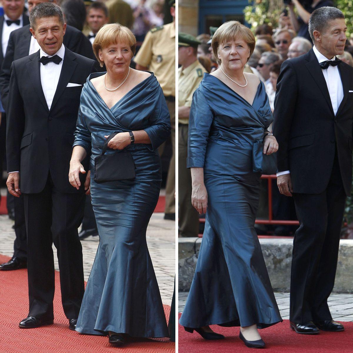 angela merkel in bayreuth: kanzlerin trägt dasselbe kleid