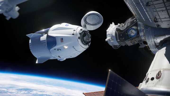 """Künstlerische Darstellung: """"Crew Dragon"""" erreicht die ISS"""