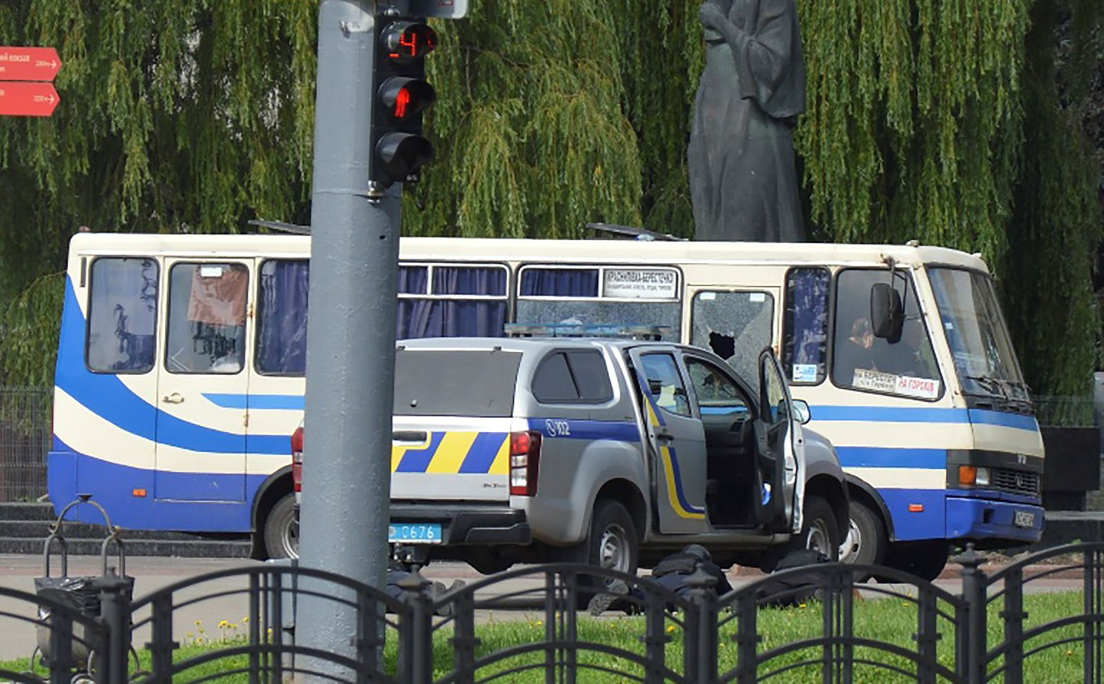 A view shows a passenger bus seized by an unidentified person in Lutsk