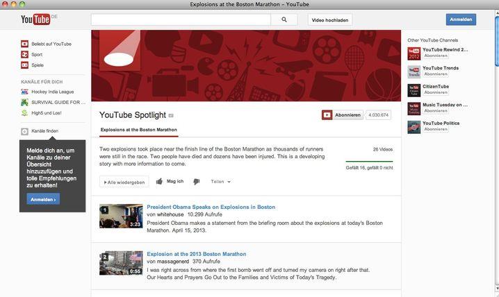 YouTube-Übersichtsseite: Videos von Nachrichtenagenturen und TV-Sendern