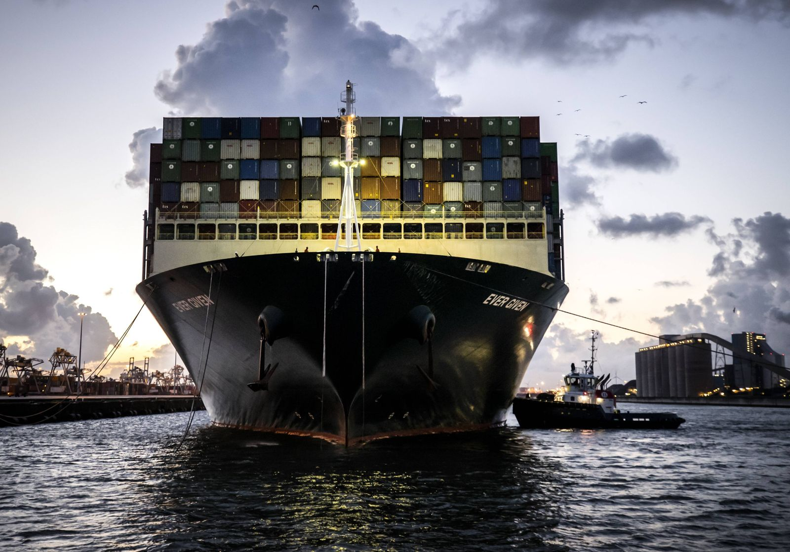 ROTTERDAM - The container ship Ever Given arrives at the ECT Delta terminal in the port of Rotterdam. The ship that bloc