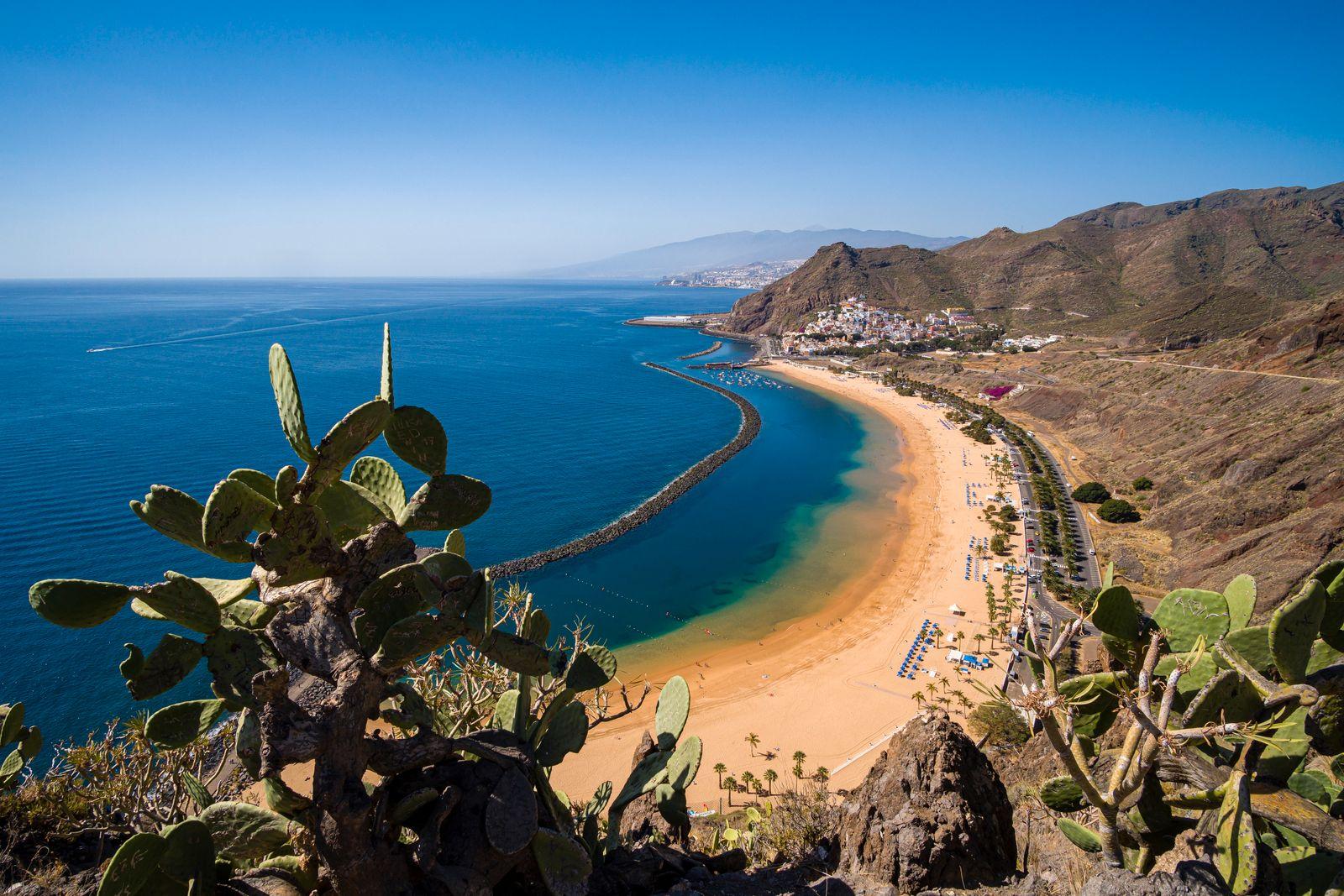Aerial view on the artificial, white sand beach Playa de Las