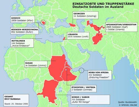 Auslandseinsätze der Bundeswehr: Eine grafische Übersicht