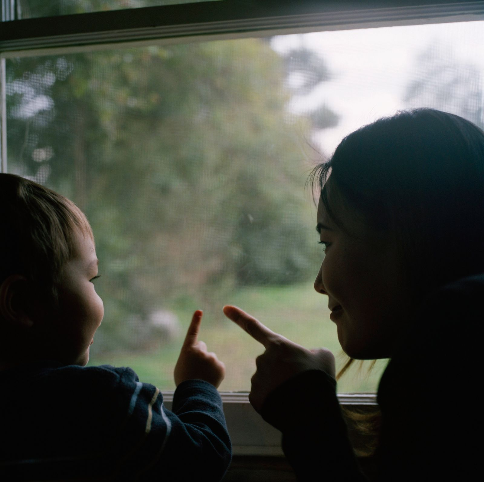 Mother and son pointing out of the window