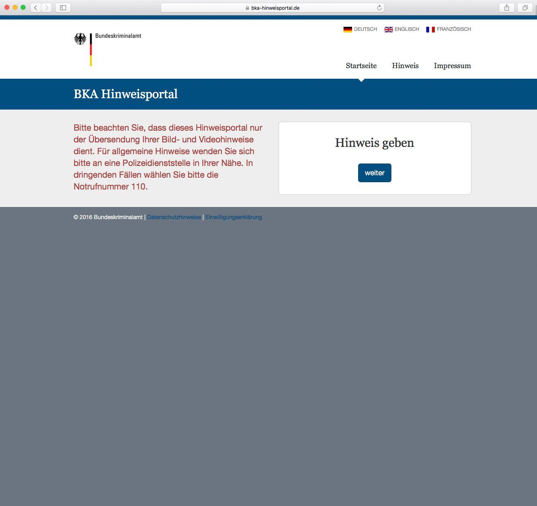 EINMALIGE VERWENDUNG NUR ALS ZITAT Screenshot/ BKA Hinweisportal