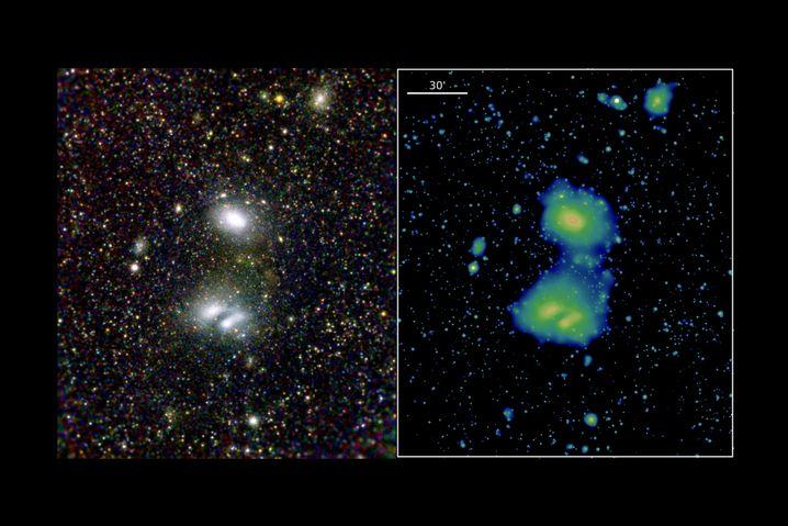 """""""eRosita""""-Bilder: Interagierende Galaxienhaufen A3391 (oben) und A3395"""