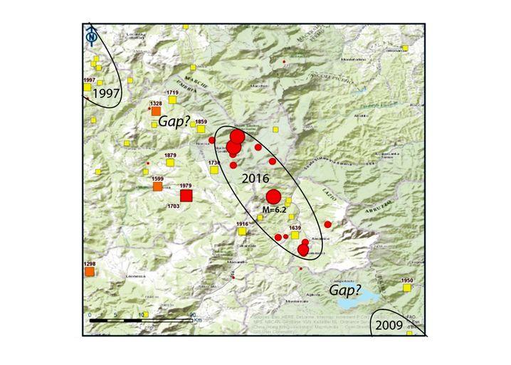 """Seismische Lücke (""""Gap"""") zwischen den Beben von 1997 und August 2016"""