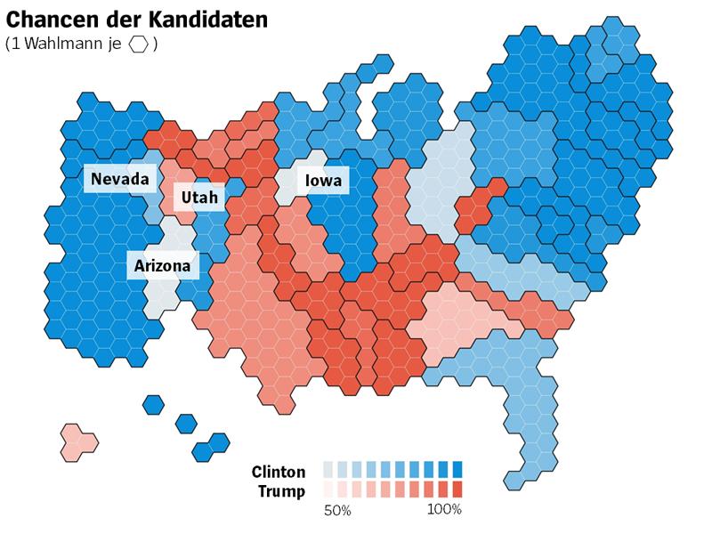 NUR IM ARTIKEL -- Karten USA Wahlprognosen