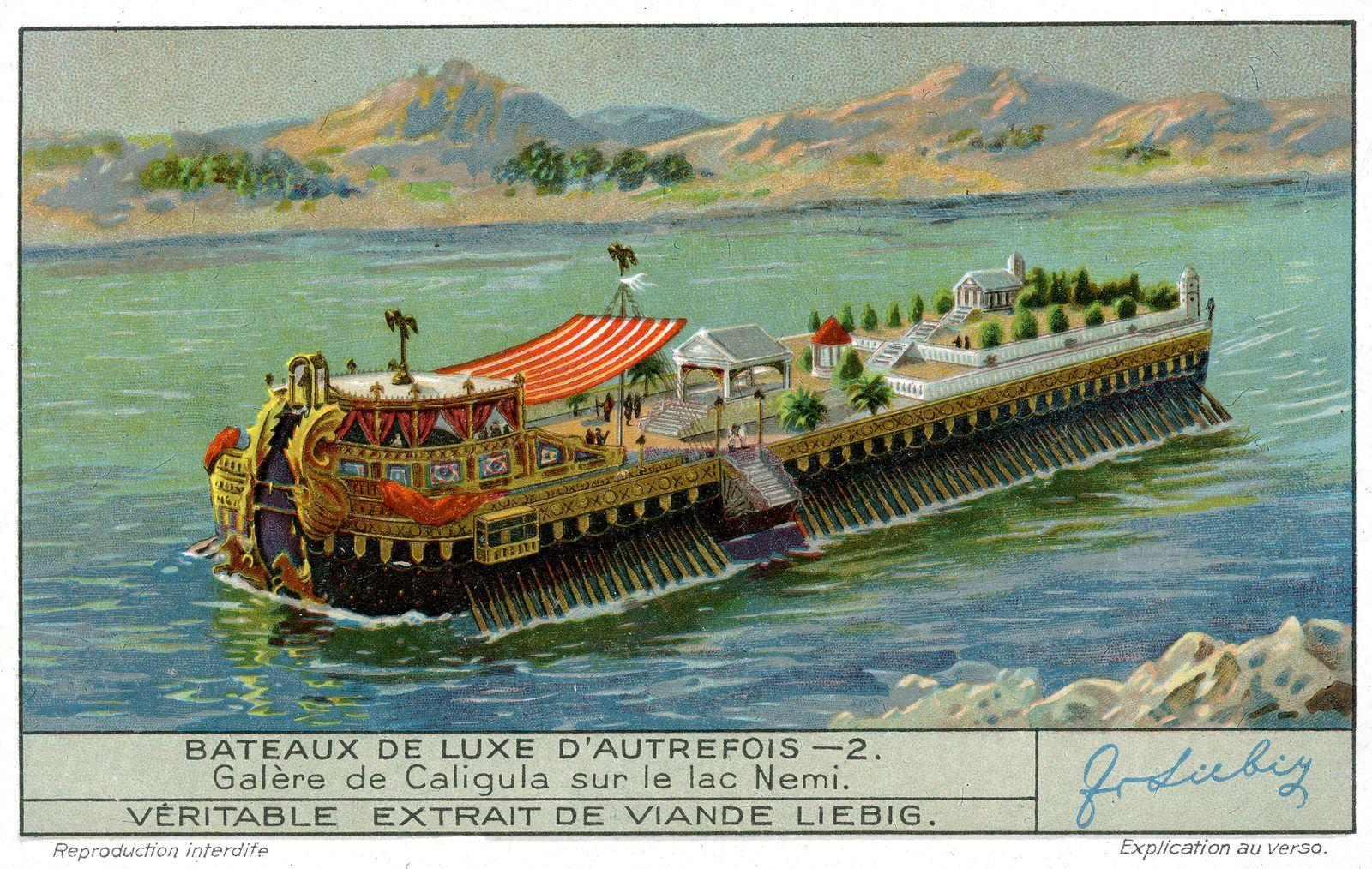 TRANSPORT - Bateau Galere de Caligula sur le lac Nemi . Chromo publicitaire Liebig de 1935, serie intitulee Bateaux de l