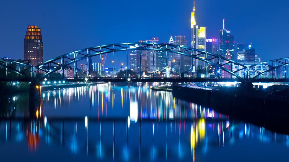 """The skyline of Frankfurt with the new ECB building in the background: """"Exhausting the policy room for manoeuver."""""""