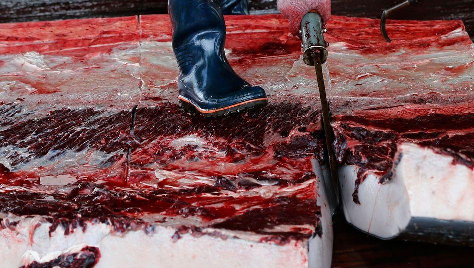 Japanischer Arbeiter mit Walfleisch (Archivbild)
