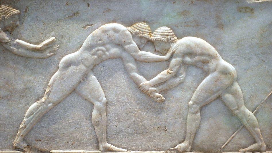 Zwei griechische Ringkämpfer: Männer machten in der Antike unbekleidet Sport