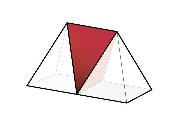 Lösung: Tetraeder (rot) füllt genau den Raum zwischen den beiden Pyramiden