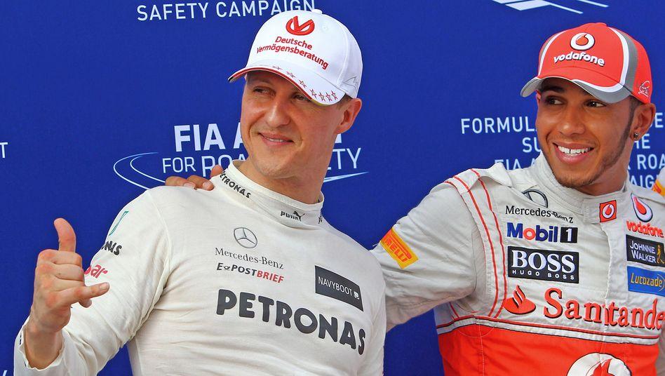Formel-1-Piloten Schumacher und Hamilton: Von 2010 bis 2012 fuhren sie gegeneinander