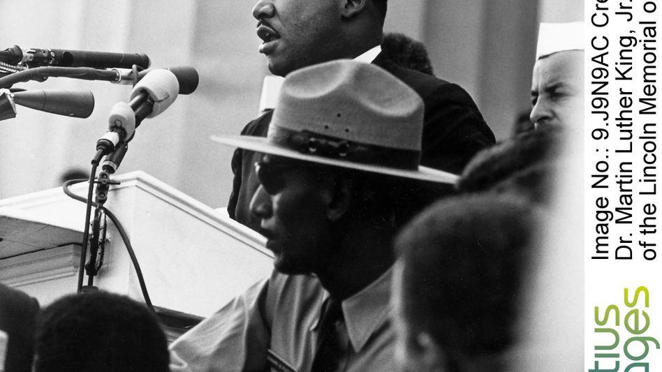 """Bürgerrechtler King beim Marsch auf Washington 1963: """"Erzähl ihnen von dem Traum!"""""""