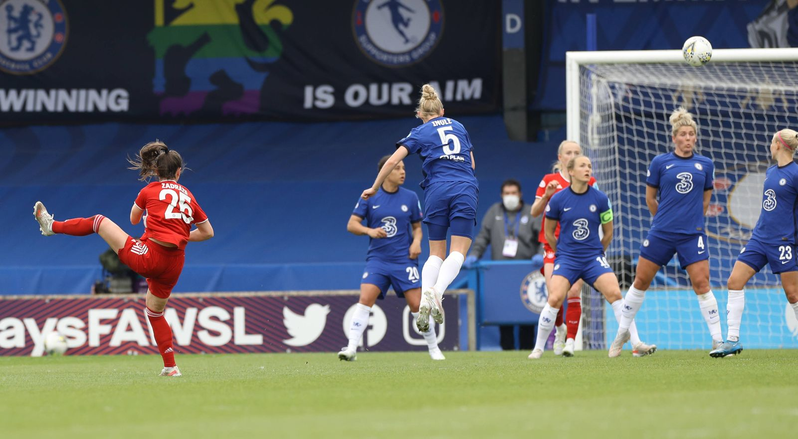Kington Upon Thames, England, 2nd May 2021. Sarah Zadrazil of Bayern Munich scores the equalising goal during the UEFA