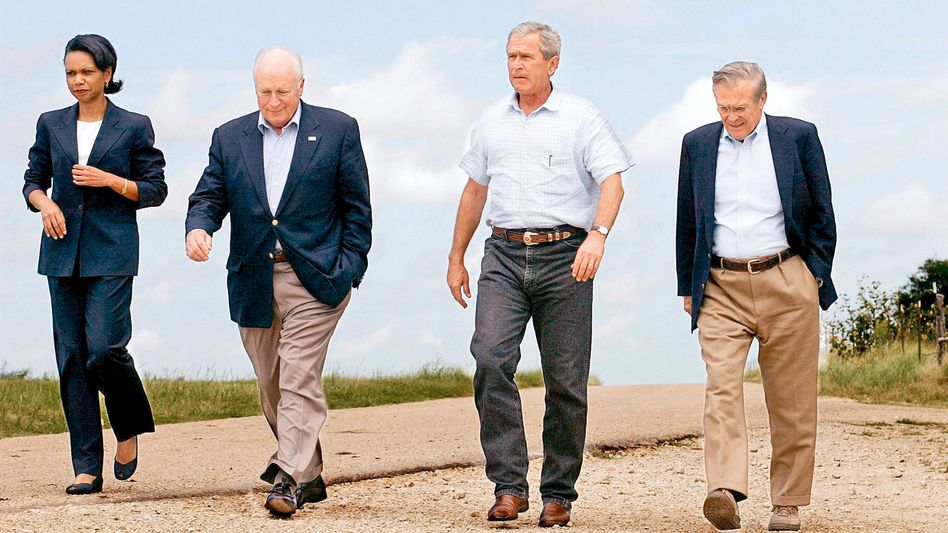 Vice President Dick Cheney together with President George W. Bush, Secretary of Defense Donald Rumsfeld and National Security Advisor Condoleezza Rice in 2004.