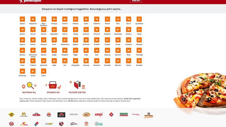 Website von Yemeksepeti (Screenshot): 500 Millionen Euro für den Marktführer