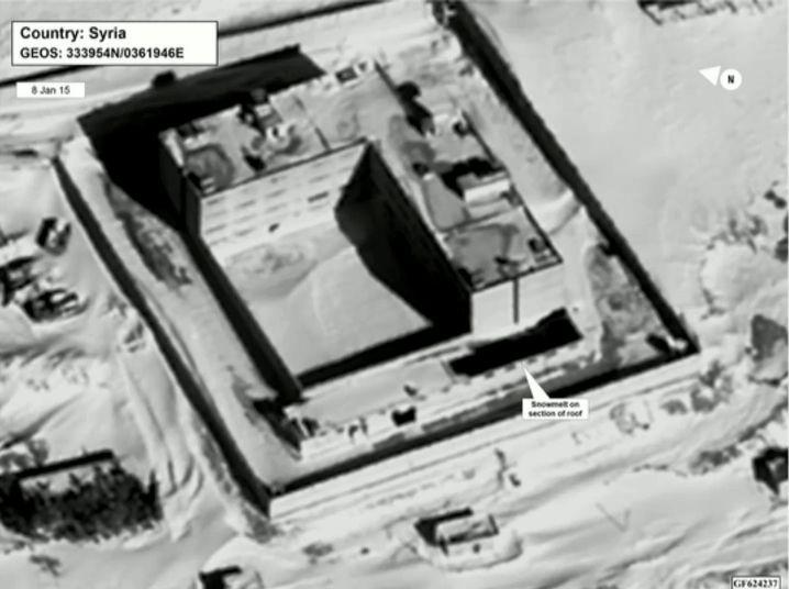 Satellitenaufnahme von angeblichem Krematorium (Markierung zeigt angeblich schneefreies Dach)