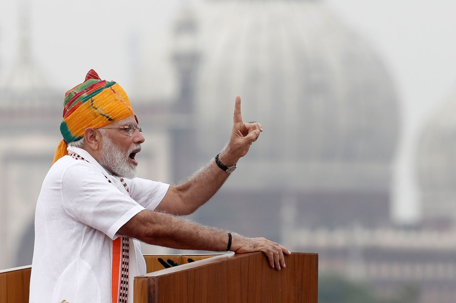 Indian Prime Minister Narendra Modi attends Independence Day celebrations at the historic Red Fort in Delhi
