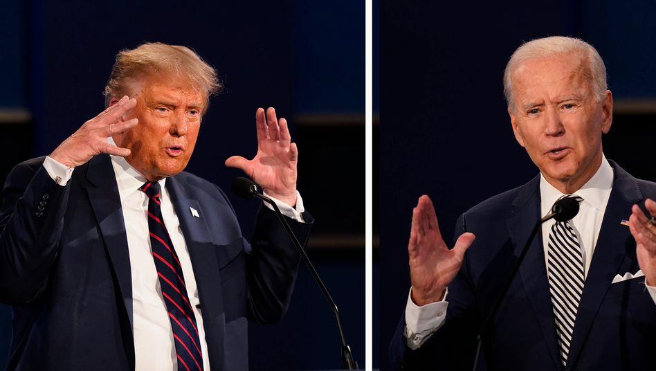 Donald Trump und Joe Biden während der ersten Debatte in Cleveland