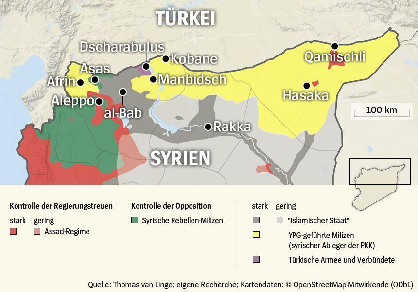 Karte Nordsyrien - Stand 01-09-2016