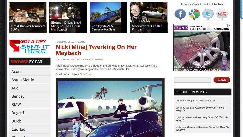 Celebrity Cars Blog: Raucherpause auf der Luxuskarosse