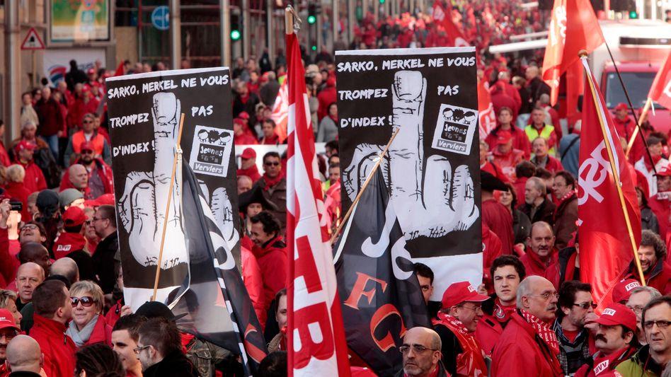 Demonstranten in Brüssel: Gewerkschaften hatten auch zu friedlichen Aktionen aufgerufen
