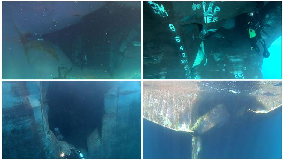 Bilder der Schäden an den Schiffen