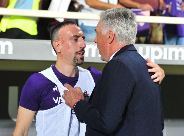 Erstes Spiel gegen Napoli: Ribéry mit seinem Ex-Trainer Carlo Ancelotti