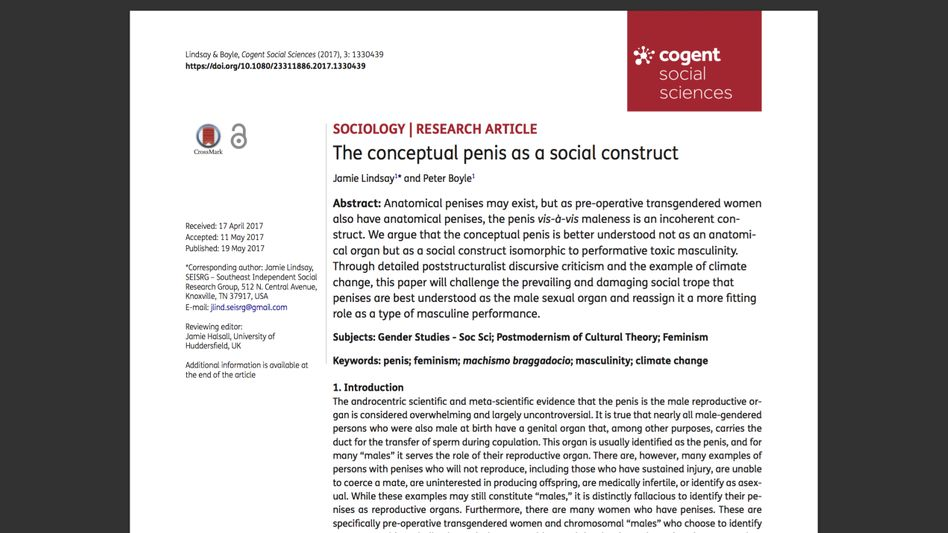 """Nonsense-Studie """"Der konzeptuelle Penis als soziales Konstrukt"""""""