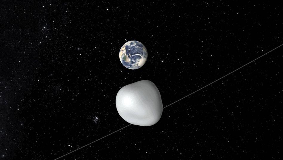 """Animation der Nasa: Asteroid """"2012 TC4"""" nahe an der Erde"""