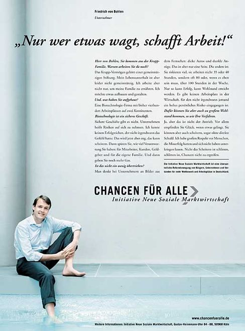 """Doppelbödig: Friedrich von Bohlen wirbt mit dem Slogan """"Chancen für alle"""""""
