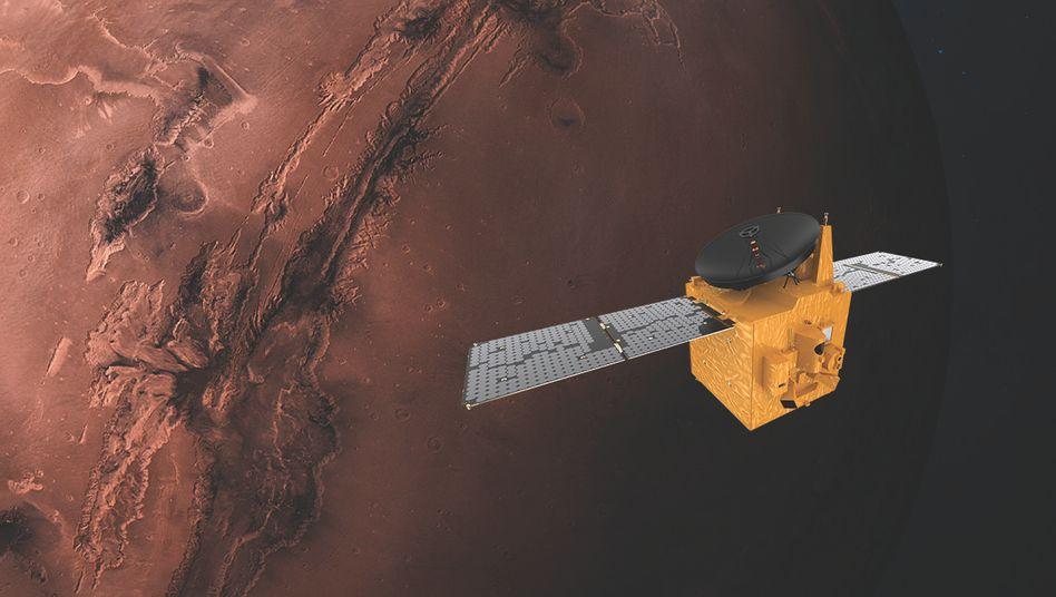"""So ähnlich könnte es aussehen, wenn die Sonde """"Hope"""" den Mars erreicht"""