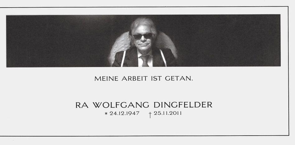 Einladungskarte zur Trauerfeier
