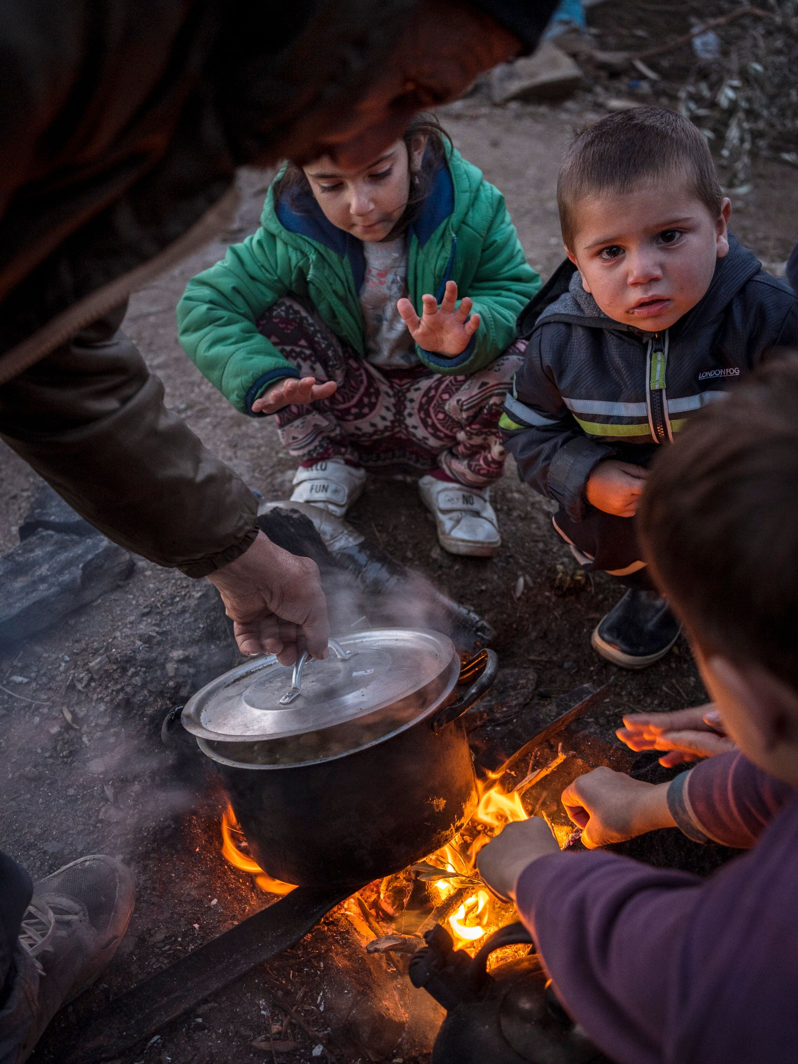 Kids at overcrowding in Moria Greek camp for Migrants and refugees