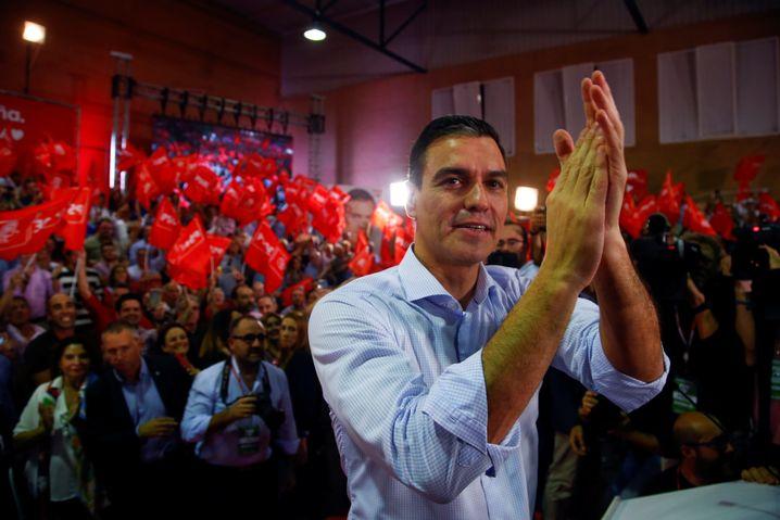 Pedro Sanchez auf einer Wahlkampfveranstaltung