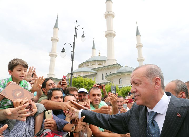 Präsident Erdogan mit Anhängern
