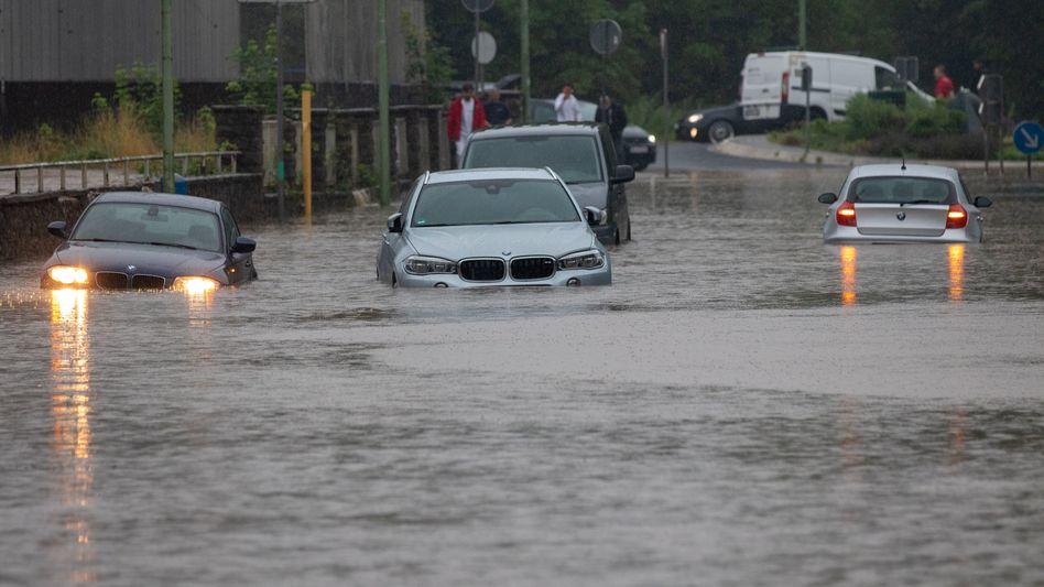 Hochwasser in Eschweiler am Mittwoch
