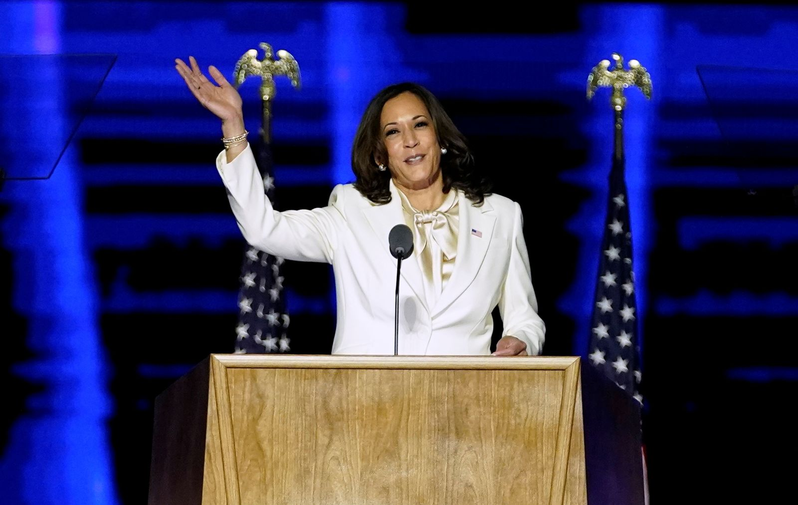 Democratic vice-presidential nominee Kamala Harris speaks to supporters at a election rally, after news media announced that Biden has won the 2020 U.S. presidential election, in Wilmington
