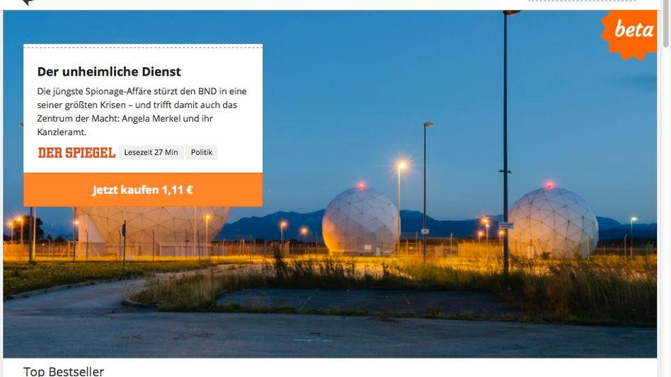 Pocketstory-Startseite: SPIEGEL-Geschichte über den BND für 1,11 Euro