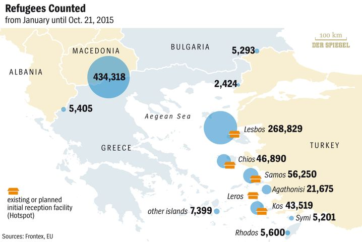 Graphic: Refugees hotspots in the Aegean and the Balkans.