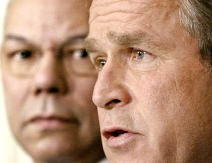 Bush und Powell: Die Diplomatie naht sich dem Ende